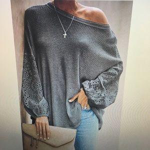 Waffle knit long sleeve w/ eyelet lantern sleeves